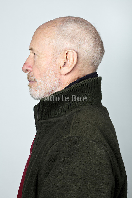 side view portrait 70 year of age person