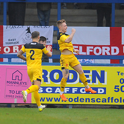 TELFORD COPYRIGHT MIKE SHERIDAN 19/1/2019 - GOAL. Nick Clayton-Phillips scores to make it 1-0 to Kidderminster during the Vanarama Conference North fixture between AFC Telford United and Kidderminster Harriers