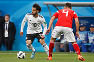Russia Sergey Ignashevich (R) in action with Egypt Mohamed Salah (L) during the 2018 FIFA World Cup Russia, Group A football match between Russia and Egypt on June 19, 2018 at Saint Petersburg Stadium in Saint Petersburg, Russia - Photo Stanley Gontha / Pro Shots / ProSportsImages / DPPI