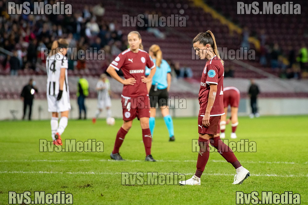 GENEVA, SWITZERLAND - OCTOBER 06: Amandine Soulard #24 and Laura Felber #4 of Servette FC Chenois feminin look dejected after the UEFA Women's Champions League group A match between Servette FCCF and Juventus at Stade de Geneve on October 6, 2021 in Geneva, Switzerland. (Photo by Basile Barbey/RvS.Media)