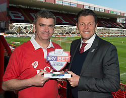Bristol City Fan, Jerry Tocknell is awarded League One, Sky Bet Football League fan of the Month, presented to him by Bristol City manager, Steve Cotterill  - Photo mandatory by-line: Joe Meredith/JMP - Mobile: 07966 386802 - 18/04/2015 - SPORT - Football - Bristol - Ashton Gate - Bristol City v Coventry City - Sky Bet League One