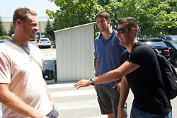 Miha Zupan, Gasper Vidmar and Sandi Cebular of Slovenia Basketball national team at departure to Rogla before World Championship in Turkey, on July 10, 2010 at KZS, Ljubljana, Slovenia. (Photo by Vid Ponikvar / Sportida)