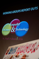 St Paul's School break out group discussions during Empathy, Intimacy and Technology Symposium.  ©2016 Karen Bobotas / for St Paul's School