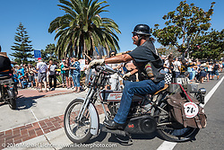 3,400 miles from the Atlantic to the Pacific - The journey is over. Rowdy Schenck of New Mexico riding his 1915 Harley-Davidson crosses the finish line of the Motorcycle Cannonball Race of the Century. Stage-15 ride from Palm Desert, CA to Carlsbad, CA. USA. Sunday September 25, 2016. Photography ©2016 Michael Lichter.