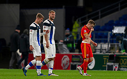 CARDIFF, WALES - Wednesday, November 18, 2020: Finland's substitute Juhani Ojala (L) and Paulus Arajuuri walk off dejected after the UEFA Nations League Group Stage League B Group 4 match between Wales and Finland at the Cardiff City Stadium. Wales won 3-1 and finished top of Group 4, winning promotion to League A. (Pic by David Rawcliffe/Propaganda)