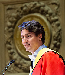 Prime Minister Justin Trudeau speaks to graduates during the convocation ceremony where he also received a honorary degree at the University of Edinburgh Wednesday, July 5, 2017 in Edinburgh.Photo by Ryan Remiorz/The Canadian Press/ABACAPRESS.COM