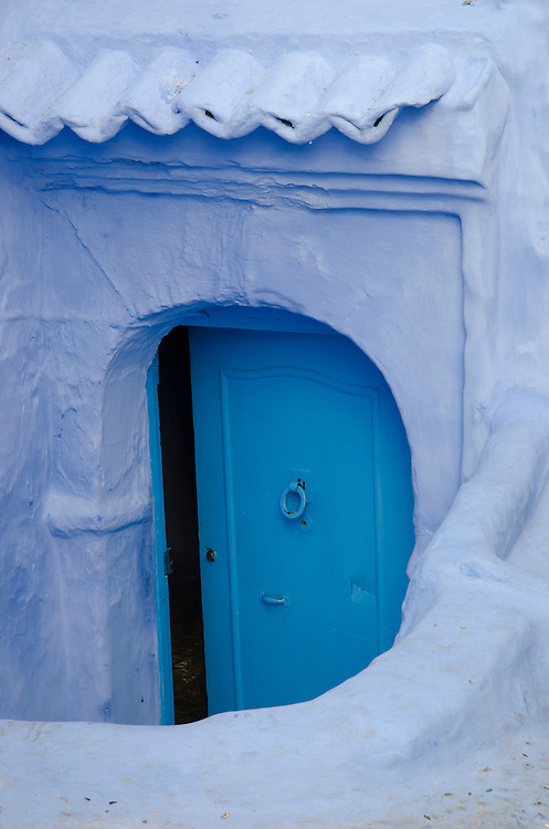 A typical blue door in Chefchaouen's medina, Morocco