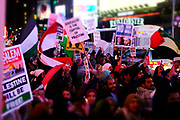 New York, NY- December 8: Palenstinians and Supporters alike protest against President Trump decision to recognize Jerusalem as the national capital of the state of Israel held in the Times Square section of New York City on December 8, 2017.  (Photo by Terrence Jennings/terrencejennings.com)