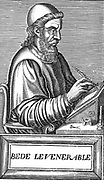 Venerable Bede (c.673-735) Anglo-Saxon theologian, scholar and historian; monk at Jarrow, Northumberland. Bede using writing slope, quill pen. Scissors, inkwell and candle at his side. Woodcut c1584