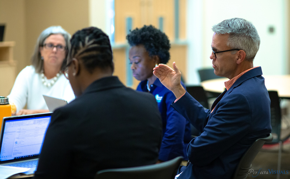 School administrators from around the region participate in the Guilford County Schools Summer Leadership Institute held at the Donald W. Cameron Campus of Guilford Technical Community College on Tuesday, July 30th, 2019.<br /> <br /> Photographed, Tuesday, July 30, 2019, in Colfax, N.C. JERRY WOLFORD and SCOTT MUTHERSBAUGH / Perfecta Visuals