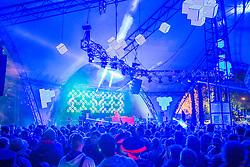Late night/early morning at the Glade. The 2015 Glastonbury Festival, Worthy Farm, Glastonbury.