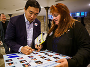 27 APRIL 2019 - STUART, IOWA: ANDREW YANG, candidate for the Democratic nomination for the US presidency, signs autographs at the Reaching Rural Voters Forum in Stuart. The forum was an outreach by Democrats in Iowa's 3rd Congressional District to mobilize Democratic voters statewide. Iowa saw one of the largest shifts from Democrats to Republicans in the 2016 Presidential election and Trump won the state by double digits. Republicans control the governor's office and both chambers of the Iowa legislature. Iowa traditionally hosts the the first selection event of the presidential election cycle. The Iowa Caucuses will be on Feb. 3, 2020.                                   PHOTO BY JACK KURTZ