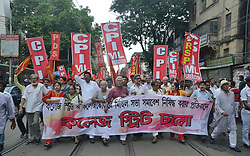 July 4, 2017 - Kolkata, West Bengal, India - Activists and supporters of the Communist Party of India (Marxist) and other left parties protested against the Government of West Bengal on declaration of ban over rallies and meetings at college street or BOI para in Kolkata. (Credit Image: © Sanjay Purkait/Pacific Press via ZUMA Wire)