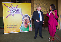 June 14, 2018 - London, London, United Kingdom - Foreign Office. .SupermodelNaomi Campbell and Boris Johnson MP, Secretary of State for Foreign and Commonwealth Affairs, launching the project Leave No Girl Behind at the Foreign Office after have a meeting...The Foreign Secretary and the supermodeldiscussed the #LeaveNoGirlBehind campaign, which aims to promote the opportunity for all girls to receive 12 years of quality education by 2030. (Credit Image: © Gustavo Valiente/i-Images via ZUMA Press)