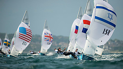 03.08.2012, Bucht von Weymouth, GBR, Olympia 2012, Segeln, im Bild Cohen Gil, (ISR, 470 Women) // during Sailing, at the 2012 Summer Olympics at Bay of Weymouth, United Kingdom on 2012/08/03. EXPA Pictures © 2012, PhotoCredit: EXPA/ Juerg Kaufmann ***** ATTENTION for AUT, CRO, GER, FIN, NOR, NED, POL, SLO and SWE ONLY!