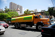 Clean water on tap is limited in Lebanon, even in the capital Beirut and many private homes have water delivered by huge trucks. Pacific Water is one of several companies suppllying water, here in down town Beirut.