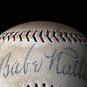 A Babe Ruth signed antique vintage baseball. 7th June 2012. Photo Tim Clayton