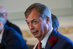 © Licensed to London News Pictures. 23/04/2019. London, UK. Nigel Farage at a Brexit Party candidate launch event in London. Nigel Farage launched his new political party, the Brexit Party earlier this month, to campaign for the European elections. Photo credit: Vickie Flores/LNP