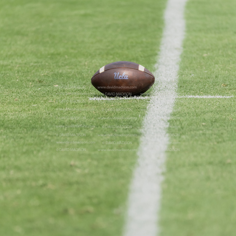 PALO ALTO, CA - SEPTEMBER 26:  A close up view of a UCLA football on the field at Stanford Stadium during an NCAA Pac-12 college football game between the Stanford Cardinal and the UCLA Bruins on September 26, 2021 in Palo Alto, California.  (Photo by David Madison/Getty Images)