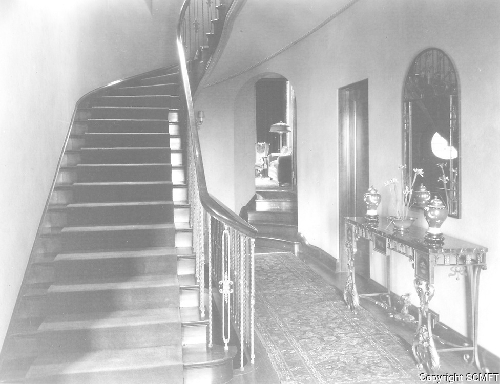 1925 Entry hall and stairway at 1847 Camino Palmero