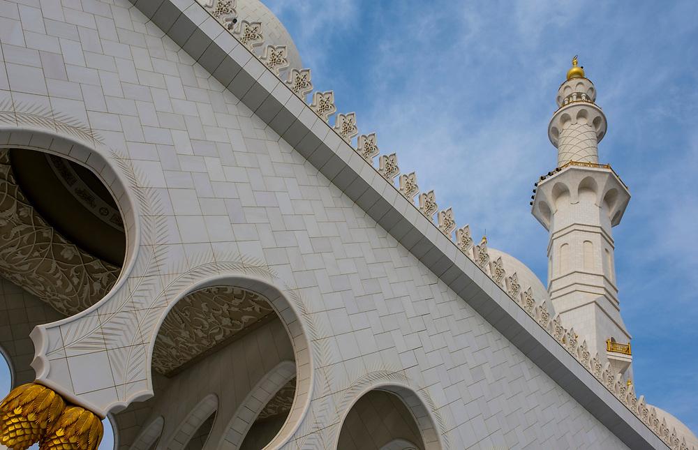 UNITED ARAB EMIRATES, ABU DHABI - CIRCA JANUARY 2017:  Minaret of the Sheikh Zayed Mosque