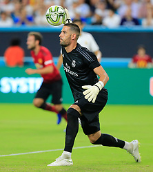 Real Madrid goalkeeper Francisco Casilla (13) throws the ball against Manchester United at Hard Rock Stadium in Miami Gardens, FL, USA on Tuesday, July 31, 2018. Manchester United won, 2-1. Photo by Al Diaz/Miami Herald/TNS/ABACAPRESS.COM