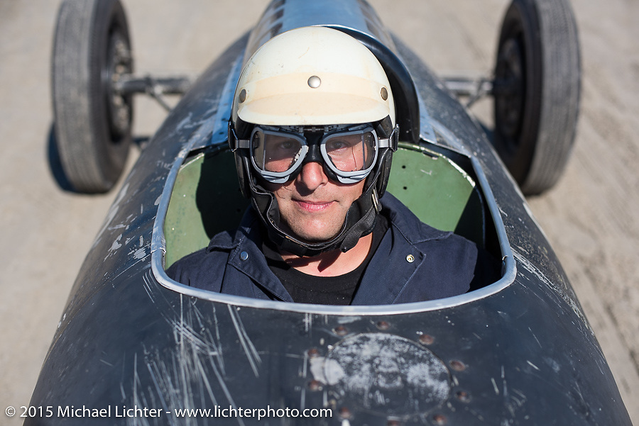 Mike Barillaro sitting in the custom body of a royal jet wing tank that was built on a 27 Ford frame at the start of the Race of Gentlemen. Wildwood, NJ, USA. October 11, 2015.  Photography ©2015 Michael Lichter.