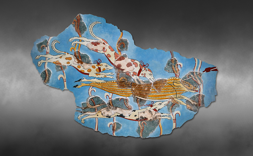 Mycenaean Fresco wall painting of a Wild Boar Hunt from the Tiryns, Greece. 14th - 13th Century BC. Athens Archaeological Museum. Grey art Background .<br /> <br /> If you prefer to buy from our ALAMY PHOTO LIBRARY  Collection visit : https://www.alamy.com/portfolio/paul-williams-funkystock/mycenaean-art-artefacts.html . Type -   Athens    - into the LOWER SEARCH WITHIN GALLERY box. Refine search by adding background colour, place, museum etc<br /> <br /> Visit our MYCENAEN ART PHOTO COLLECTIONS for more photos to download  as wall art prints https://funkystock.photoshelter.com/gallery-collection/Pictures-Images-of-Ancient-Mycenaean-Art-Artefacts-Archaeology-Sites/C0000xRC5WLQcbhQ