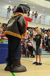 Bristol Flyers fans with the mascot - Mandatory byline: Dougie Allward/JMP - 07966 386802 - 10/09/2015 - BASKETBALL - SGS Wise Arena - Bristol, England - Bristol Flyers v USA Select.