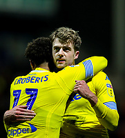 Leeds United's Patrick Bamford celebrates scoring the opening goal with Tyler Roberts<br /> <br /> Photographer Alex Dodd/CameraSport<br /> <br /> The EFL Sky Bet Championship - Preston North End v Leeds United -Tuesday 9th April 2019 - Deepdale Stadium - Preston<br /> <br /> World Copyright © 2019 CameraSport. All rights reserved. 43 Linden Ave. Countesthorpe. Leicester. England. LE8 5PG - Tel: +44 (0) 116 277 4147 - admin@camerasport.com - www.camerasport.com