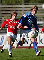 Kai Olav Ryen, Kongsvinger. Tor Hogne Aarøy, Aalesund. <br /> <br /> Fotball: Kongsvinger - Aalesund 2-2 (5-2 e. straffer). NM 2004 herrer, 3. runde. 8. juni 2004. (Foto: Peter Tubaas/Digitalsport.