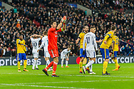 Juventus goalkeeper Gianluigi Buffon instructs his team during the Champions League match between Tottenham Hotspur and Juventus FC at Wembley Stadium, London, England on 7 March 2018. Picture by Toyin Oshodi.