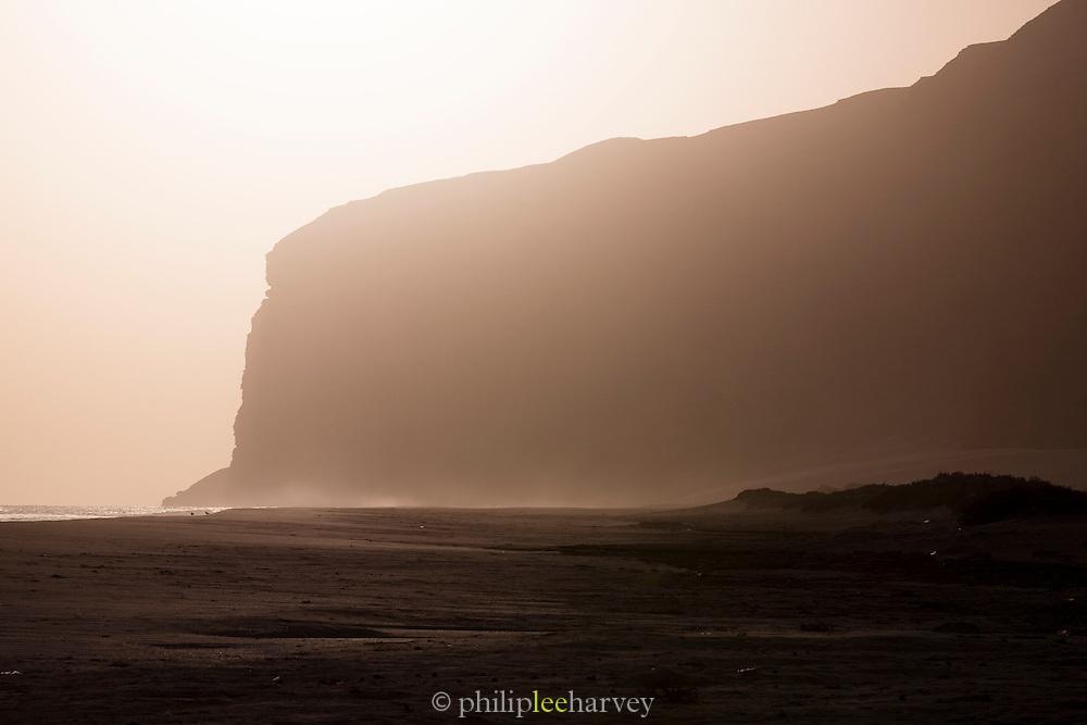 Cliffs at sunset at Qa'arah, Socotra, Yemen