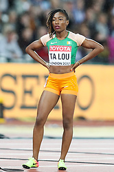 London, August 11 2017 . Marie-Josée Ta Lou, Cote d'Ivoire, at the start of the  women's 200m final on day eight of the IAAF London 2017 world Championships at the London Stadium. © Paul Davey.