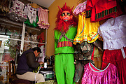Costume makers for Oruro Carnival parade. The annual Oruro Carnival in Bolivia is a UNESCO World heritage event and happens at the same time as Carnival all over Latin America, it attracts upto four hundred thousand people to the city of Oruro in the Altiplano and lasts for severeal days with processions, elabroate costumes such as Devils, doctors and negritos, there is also brass bands and a huge water fight