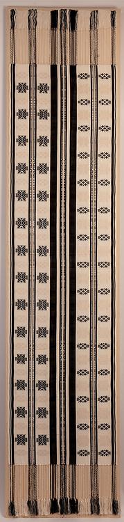 """Lamba, Malagasy akotofahana textile """"Mainty ny Fotsy"""" woven in late 1980's at LAMBA SARL, Antananarivo, Madagascar.<br /> https://www.lemurreserve.org/"""