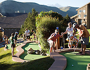 NEWS&GUIDE PHOTO / PRICE CHAMBERS.Team Gunga Galunga cheers on Ted Smith as he putts into hole 3 of the 2nd Not So Annual Carl Lipbaum Memorial Local Celebrity Mini-Golf Invitational Tournament of Champions. From left, Fred Harness, Alyse Tankanow, Rachel Block and Ted Smith.