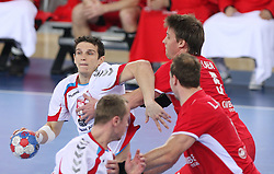 Bartlomiej Jaszka (2) of Poland vs Torsten Laen of Denmark  during 21st Men's World Handball Championship 2009 Bronze medal match between National teams of Poland and Denmark, on February 1, 2009, in Arena Zagreb, Zagreb, Croatia.  (Photo by Vid Ponikvar / Sportida)