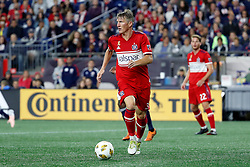 September 22, 2018 - Foxborough, MA, U.S. - FOXBOROUGH, MA - SEPTEMBER 22: Chicago Fire midfielder Bastian Schweinsteiger (31) looks to send the ball wide during a match between the New England Revolution and the Chicago Fire on September 22, 2018, at Gillette Stadium in Foxborough, Massachusetts. The teams played to a 2-2 draw. (Photo by Fred Kfoury III/Icon Sportswire) (Credit Image: © Fred Kfoury Iii/Icon SMI via ZUMA Press)