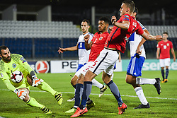 October 5, 2017 - San Marino, SAN MARINO - 171005 Goalkeeper Aldo Junior Simoncini and Cristian Brolli of San Marino, and Joshua King and Gustav Valsvik of Norway during the FIFA World Cup Qualifier match between San Marino and Norway on October 5, 2017 in San Marino. .Photo: Fredrik Varfjell / BILDBYRN / kod FV / 150027 (Credit Image: © Fredrik Varfjell/Bildbyran via ZUMA Wire)