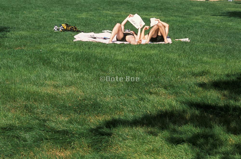 People sunbathing in the park