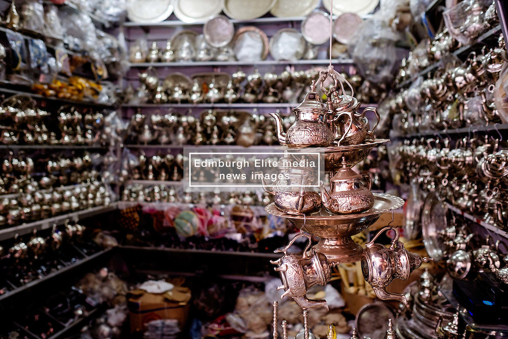 Silverware for sale in the Medina in Marrakech, Morocco, North Africa<br /> <br /> (c) Andrew Wilson | Edinburgh Elite media