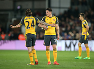 Arsenal's Hector Bellerin and Granit Xhaka argue during the Premier League match at Selhurst Park Stadium, London. Picture date: April 10th, 2017. Pic credit should read: David Klein/Sportimage