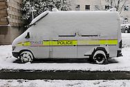 Snow covered Police Van, London, Britain 2 Feb 2009