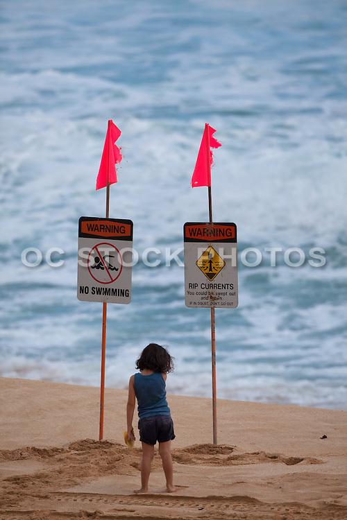 No Swimming Warning Signs at the Beach