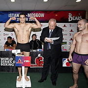 Istanbulls Onur SIPAL (L) and Kremlin Bears Sukhrab SHIDAEV (R) boxers seen during their Presentation and the weighing ceremony matchday 5 of the World Series of Boxing at Ahmet Comert Arena in Istanbul, Turkey, Thursday, January 27, 2011. Photo by TURKPIX