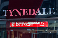 Middlesbrough players' coach sign before the EFL Sky Bet Championship match between Brentford and Middlesbrough at Brentford Community Stadium, Brentford, England on 7 November 2020.