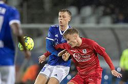 Markus Bay (Fremad Amager) og Andreas Smed (FC Helsingør) under kampen i 1. Division mellem Fremad Amager og FC Helsingør den 21. oktober 2020 i Sundby Idrætspark (Foto: Claus Birch).