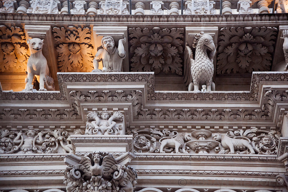 Detailed carvings on a building in Lecce, Italy.