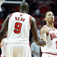 10 May 2011: Chicago Bulls point guard Derrick Rose (1) celebrates with Chicago Bulls small forward Luol Deng (9) during the Chicago Bulls 95-83 victory over the Atlanta Hawks, during game 5 of the Eastern Conference semi finals at the United Center, Chicago, Illinois, USA.